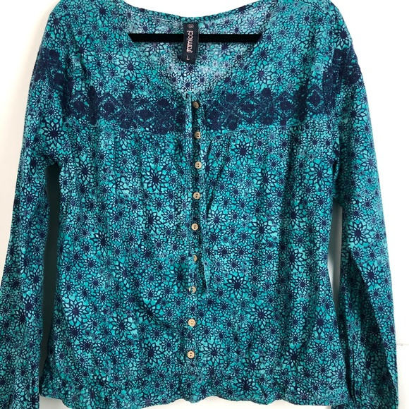 Gramicci Embroidered Teal/Navy Floral Boho Top L